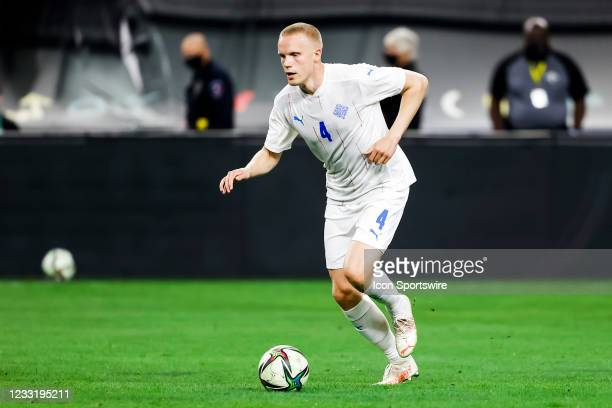 Iceland Hjortur Hermannsson dribbles the ball upfield during the game between Mexico and Iceland on May 29, 2021 at AT&T Stadium in Arlington, Texas.