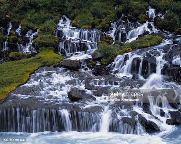 Iceland, Hraunfossar waterfall (blurred motion)