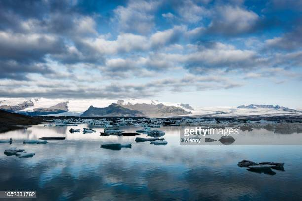 iceland jokulsarlon icebergs sunrise - glacier lagoon stock photos and pictures