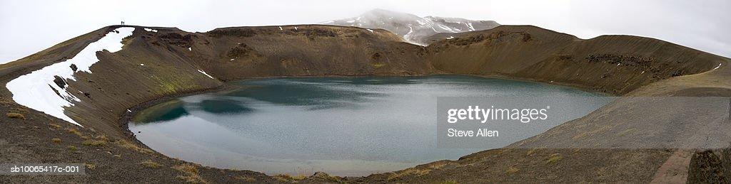Iceland, Krafla, lake in volcano crater : Foto stock