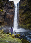 Iceland, Kvernufoss waterfall and river