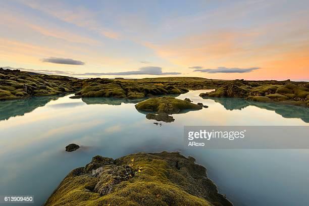 Iceland lake at sunset