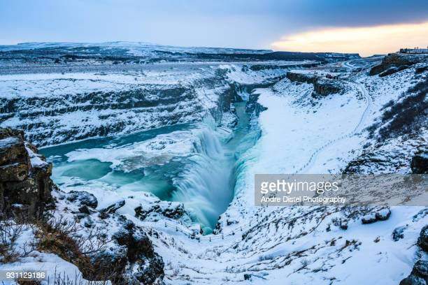 iceland landscape and nature - iceland - gullfoss falls stock photos and pictures