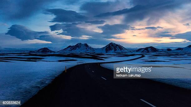 Iceland landscape in winter at dusk.