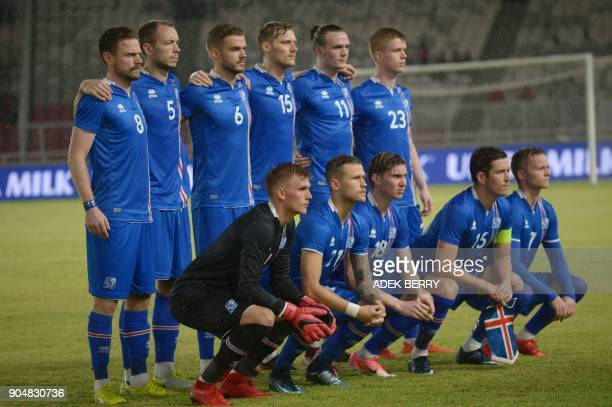 Iceland national team pose for a photograph prior to a friendly match between Iceland and Indonesia in Jakarta on January 14 2018 / AFP PHOTO / ADEK...