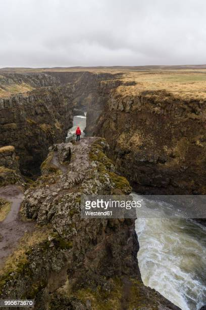 Iceland, North of Iceland, hiker looking to canyon