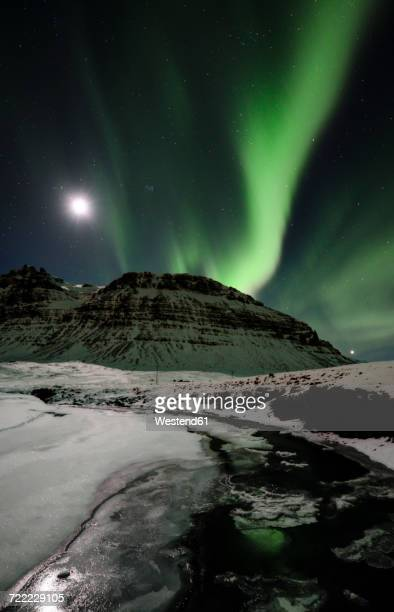 Iceland, Northen lights in the mountain