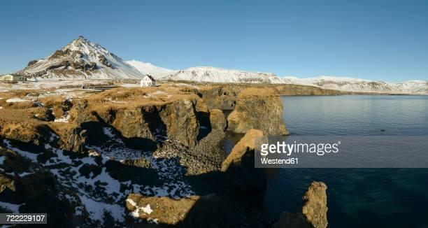 Iceland, Panoramic view of Arnarstapi cliffs