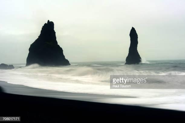 The mysterious black Reynisfjara beach on the south coast of Iceland.