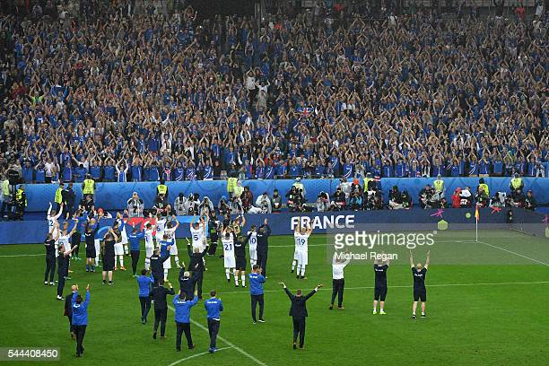 Iceland players and staffs applaud the supporters after their team's 25 defeat in the UEFA EURO 2016 quarter final match between France and Iceland...