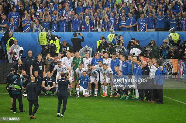 Iceland players and staffs pose for photographs in front of their supporters after the UEFA EURO 2016 quarter final match between France and Iceland...