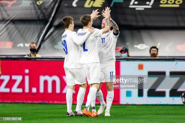 Iceland players celebrate a goal during the game between Mexico and Iceland on May 29, 2021 at AT&T Stadium in Arlington, Texas.