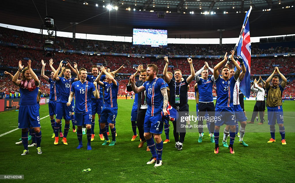 Iceland players celebrate victory in the UEFA EURO 2016 Group F match between Iceland and Austria at Stade de France on June 22, 2016 in Paris, France.