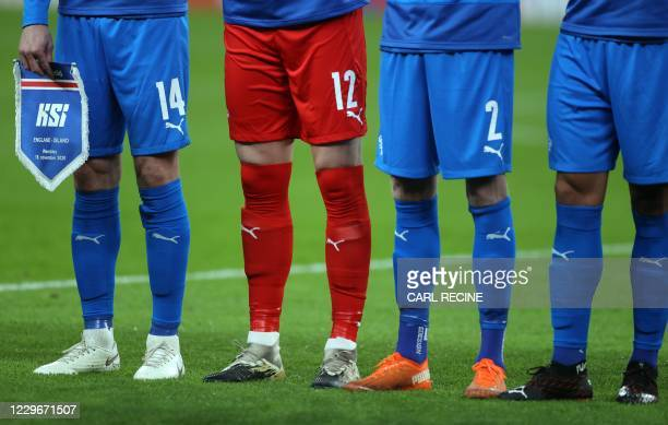 Iceland players line up for the UEFA Nations League group A2 football match between England and Iceland at Wembley stadium in north London on...