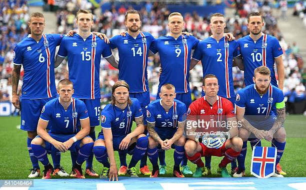 Iceland players pose for photos prior to the UEFA EURO 2016 Group F match between Iceland and Hungary at Stade Velodrome on June 18 2016 in Marseille...