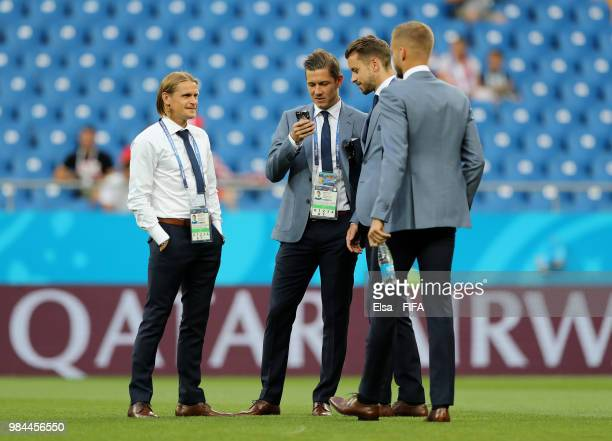 Iceland players talk during during the 2018 FIFA World Cup Russia group D match between Iceland and Croatia at Rostov Arena on June 26 2018 in...