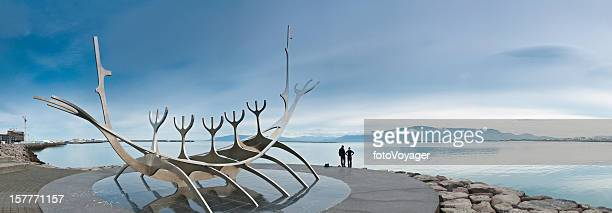 Iceland Reykjavik harbor sculpture panorama