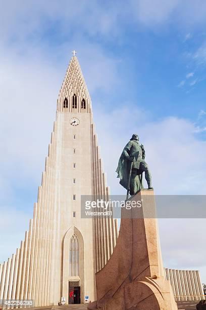 Iceland, Reykjavik, view to Hallgrimskirkja