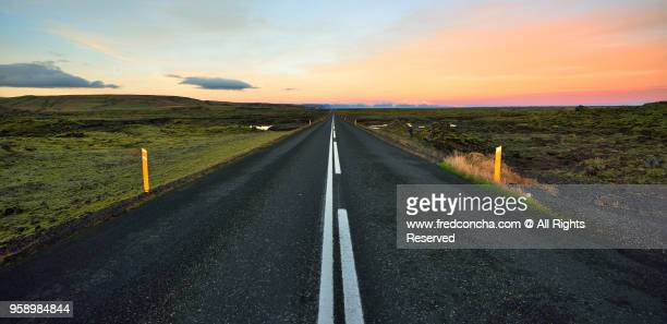Iceland Ring Road with a beautiful sunset
