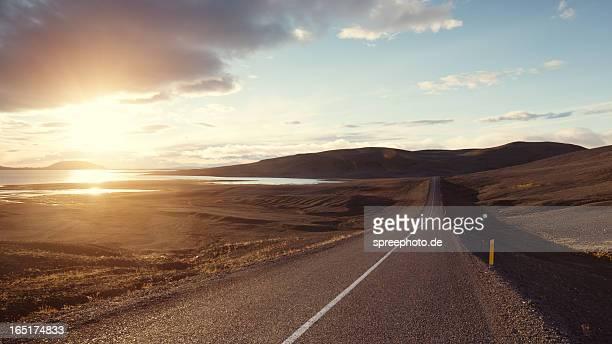 iceland road with landscape - アイスランド ストックフォトと画像