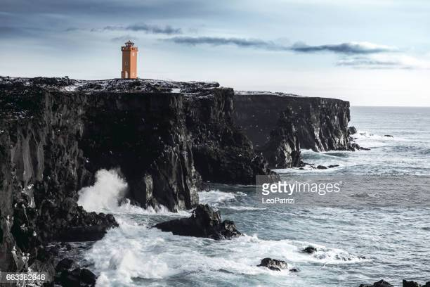 Iceland - Saxholsbjarg Orange Lighthouse In Snaefellsnes