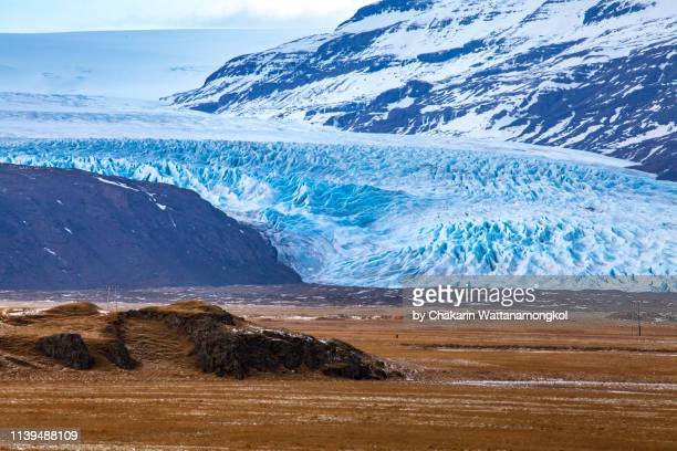 iceland scenery (skaftafell national park) - closed up glacier in skaftafell national park. - skaftafell national park stock photos and pictures
