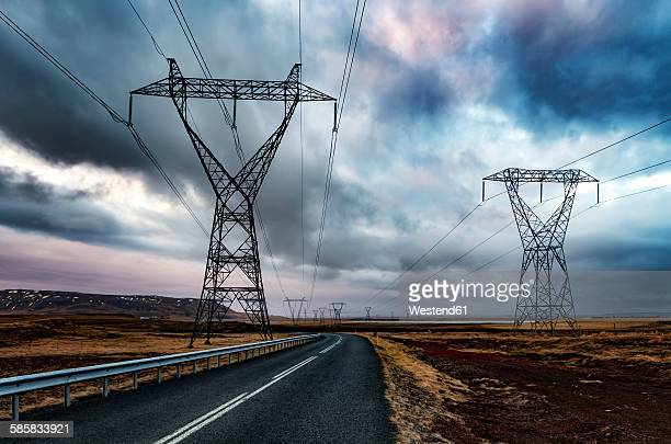 Iceland, Solheimar, Highway 354 and power poles