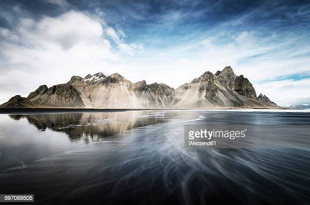 Iceland, Stokksnes, Vestrahorn Mountains, Black Sand Beach