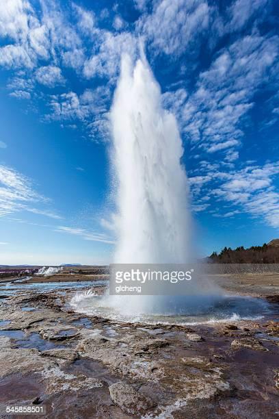 Iceland, Strokkur, Geyser erupting