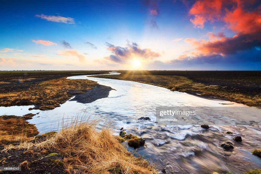 Iceland sunrise river : Stock Photo