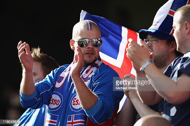 Iceland supporters during the UEFA European Under21 Championship Group A match between Switzerland and Iceland at the Aalborg Stadium on June 14 2011...
