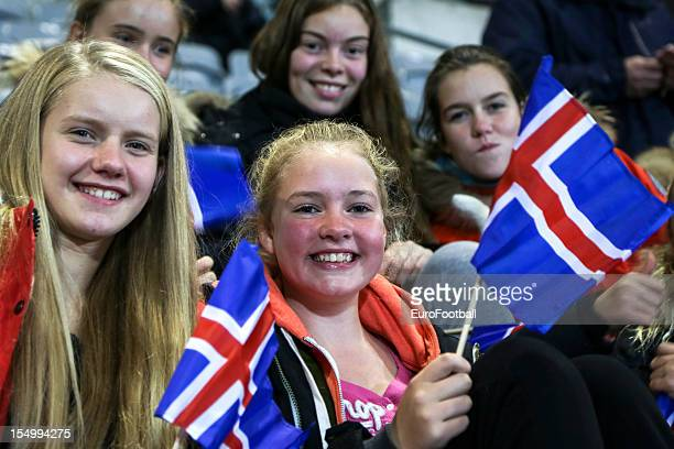 Iceland supporters during the UEFA Women's EURO 2013 playoff second leg match between Iceland and Ukraine held on October 25 2012 at the...
