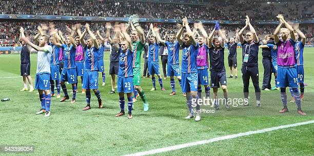 Iceland team celebration, during the UEFA EURO 2016 round of 16 match between England and Iceland at Allianz Riviera Stadium on June 27, 2016 in...