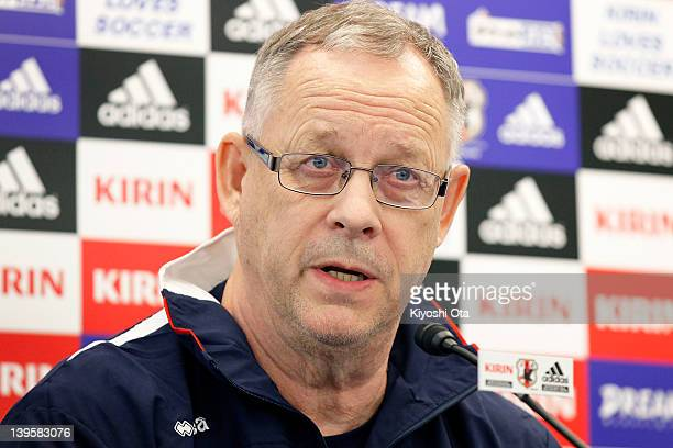 Iceland team head coach Lars Lagerback speaks during a press conference ahead of the Kirin Challenge Cup international friendly match against Japan...