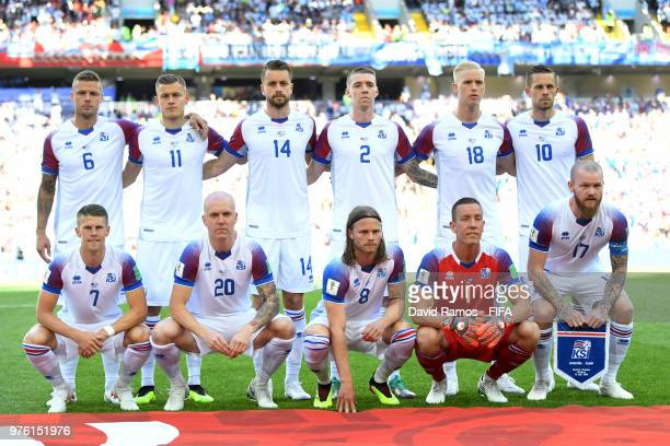 Iceland team line up ahead of the 2018 FIFA World Cup Russia group D match between Argentina and Iceland at Spartak Stadium on June 16 2018 in Moscow...