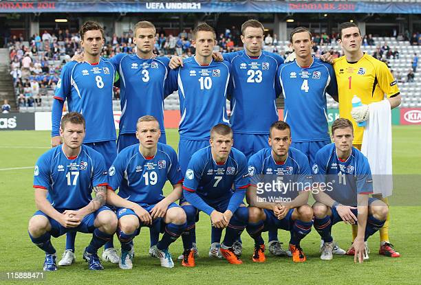Iceland team line up befor the UEFA European Under21 Championship Group A match between Belarus and Iceland at the Aarhus stadium on June 11 2011 in...