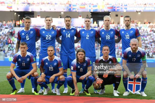 Iceland team pose prior to the 2018 FIFA World Cup Russia group D match between Nigeria and Iceland at Volgograd Arena on June 22 2018 in Volgograd...
