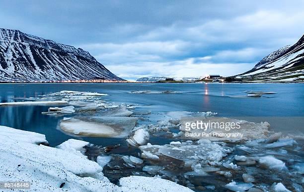 iceland, westfjords, ísafjörður, sea in winter - westfjords iceland stock photos and pictures