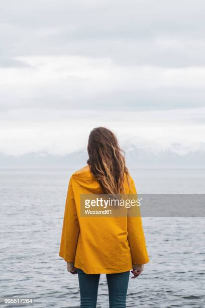 iceland, woman standing at the sea - yellow coat stock pictures, royalty-free photos & images