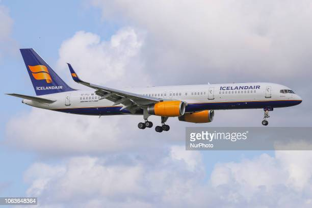 Icelandair Boeing 757-208 is landing in Amsterdam Schiphol International Airport in The Netherlands. The aircraft has the registration TF-FIJ and is...