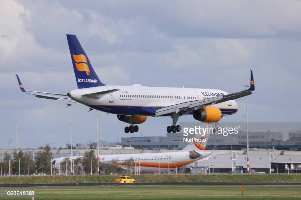Icelandair Boeing 757208 is landing in Amsterdam Schiphol International Airport in The Netherlands The aircraft has the registration TFFIJ and is...
