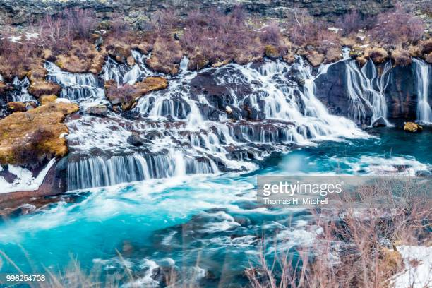 iceland-hraunfossar lava falls - brook mitchell stock pictures, royalty-free photos & images