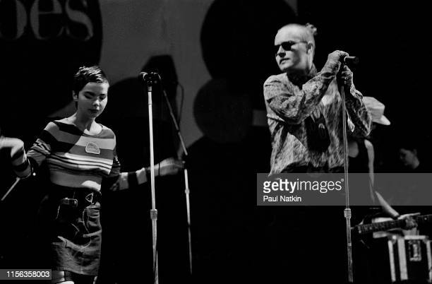 Icelandic Alternative Rock group the Sugarcubes perform onstage at the Poplar Creek Music Theater Hoffman Estates Illinois June 28 1989 Pictured are...