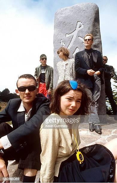 Icelandic alternative rock group The Sugarcubes San Francisco 17th August 1988 Back left to right bassist Bragi Olafsson keyboard player Margret...