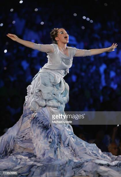Icelandic artist Bjork sings during the opening ceremony of the Athens 2004 Summer Olympic Games on August 13, 2004 at the Sports Complex Olympic...