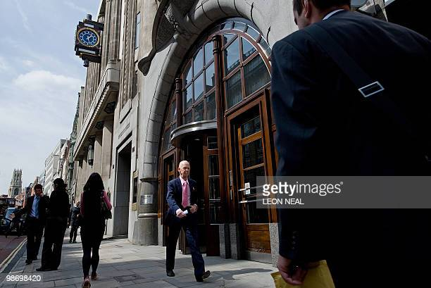 Icelandic businessman and former owner of West Ham football club Eggert Magnusson walks past the London offices of Goldman Sachs on April 27 2010 US...