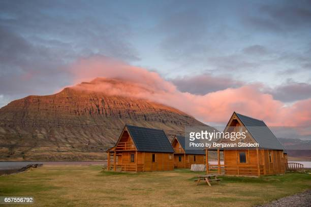 Icelandic cottages near the Fjord of East Iceland