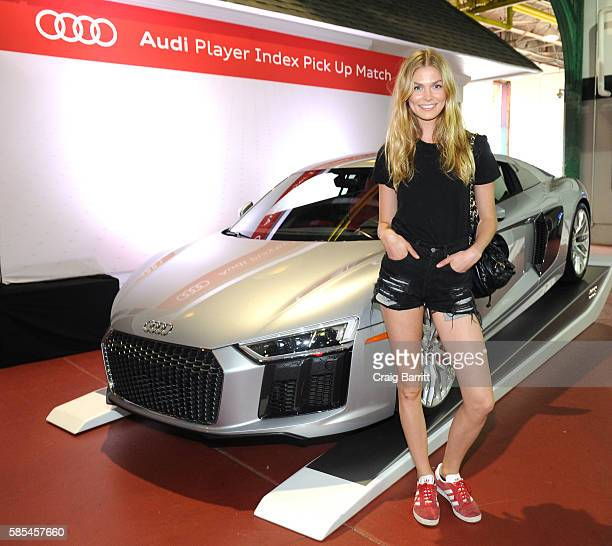 Icelandic fashion model Sigrun Eva Jonsdottir poses for a photo before the Audi Player Index PickUp Match at Chelsea Piers on August 2 2016 in New...