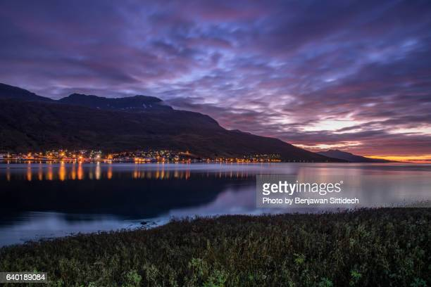 Icelandic Fjord landscape of Eskifjordur town at sunrise, Eastern Iceland