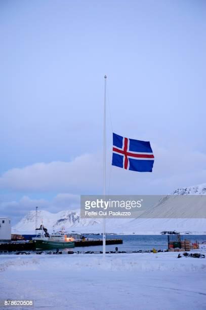 Icelandic flag at Grundarfjördur, West Iceland